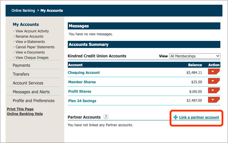 """Screenshot of online banking showing the Account Summary page. Click """"Link a partner account"""" to start linking your credit card."""